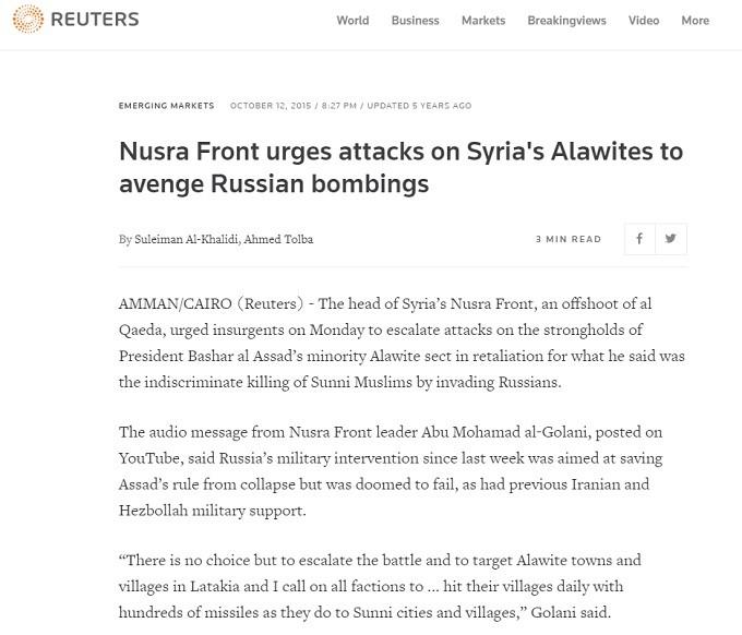 November 2015, al Jolani called for the slaughter of Alawites.