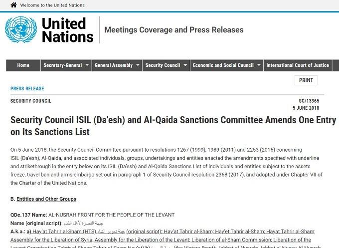 Jolani on UN terror list