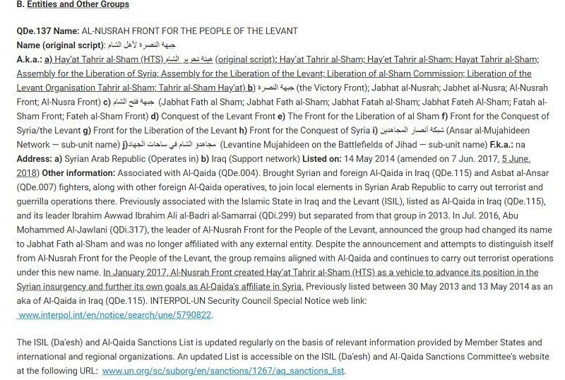 Jolani and all his aka's and aka's of al qaeda gangs specified in UN list