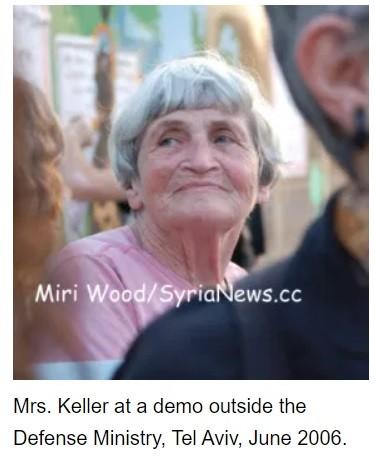 Mrs. Chava Keller at June 2006 demo against Israeli bombing of Gaza.