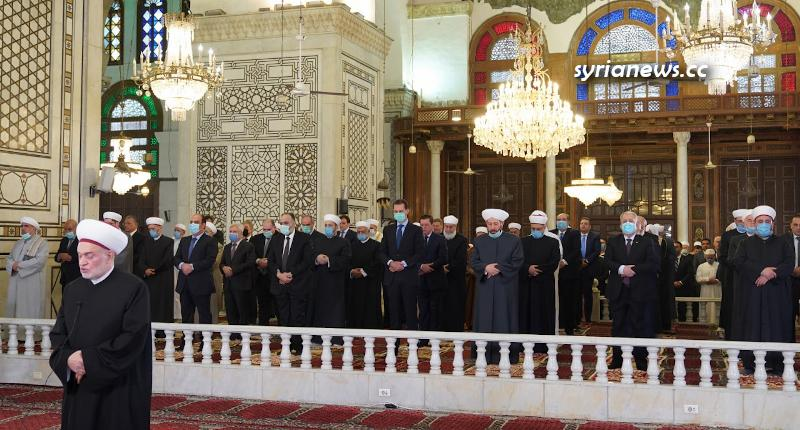 President Bashar Assad performs Eid Prayers in Grand Omayyad Mosque in Damascus