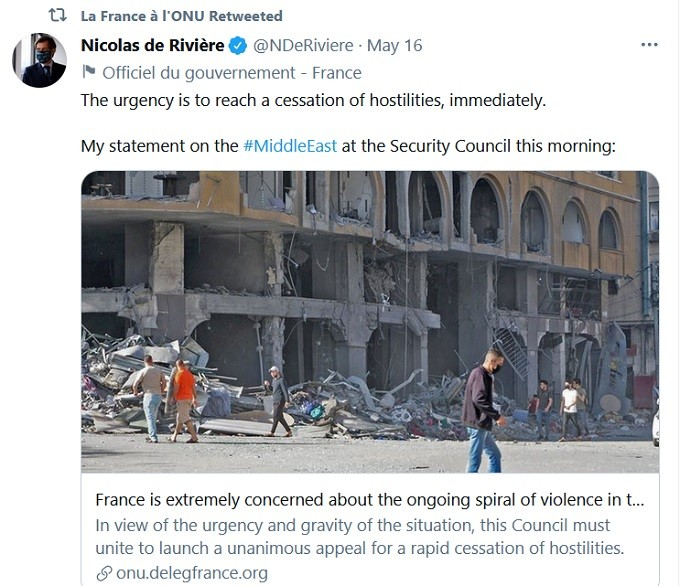 France feigned concern also for Gaza.