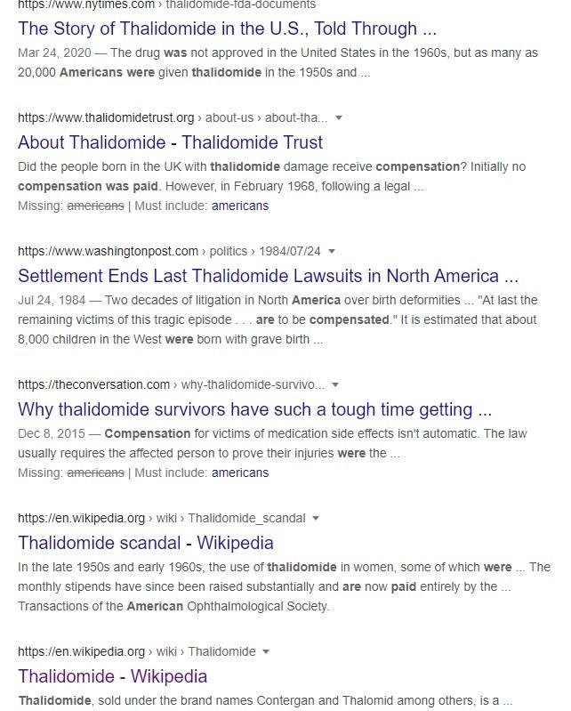 Thalidomide predates VAERS, also not vaccine or eua related.