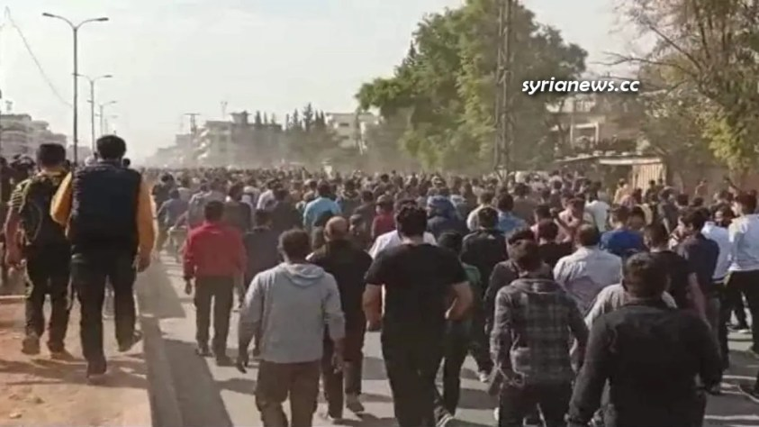 Protests against Kurdish SDF in Manbij - Aleppo northeast countryside