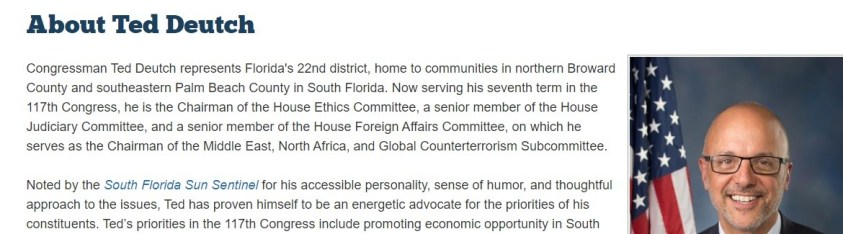 Congress member Deutch is even on the ethics committee.