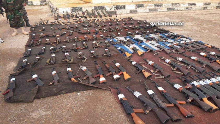 Weapons surrendered to the authorities 25 Jan 2016 Al-Sanamin Daraa Syria