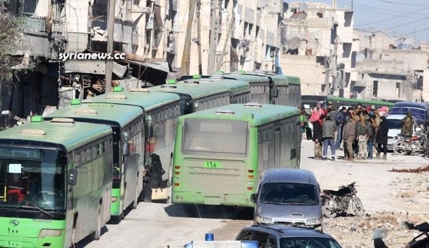 Daraa Balad green buses to evict ISIS and Al Qaeda terrorists to northern Syria