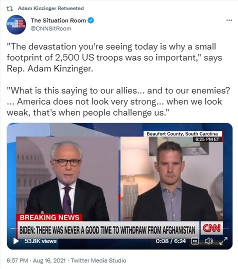 Kinzinger outraged over Taliban control of Afghanistan