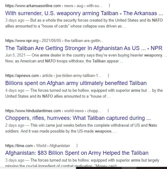 Taliban armed with NATO weapons.