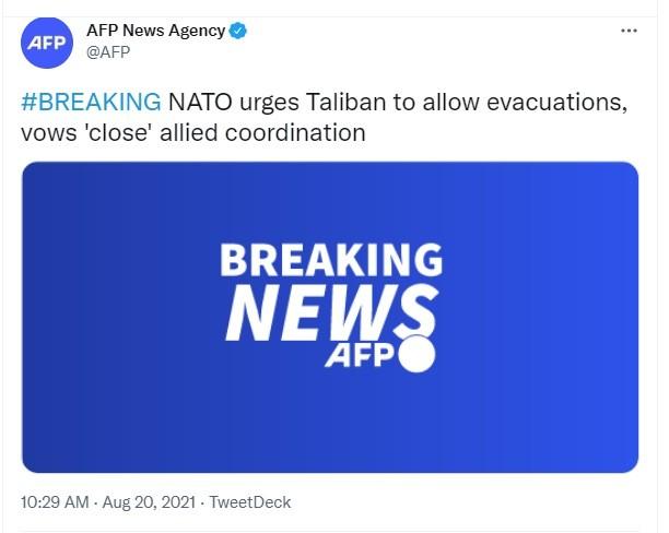 NATO warns Taliban