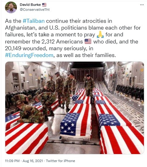 Western media weeping over US soldiers who invaded Afghanistan to fight the Taliban.