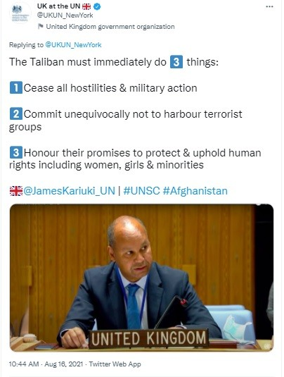 Brit ambassador to UN warns the Taliban