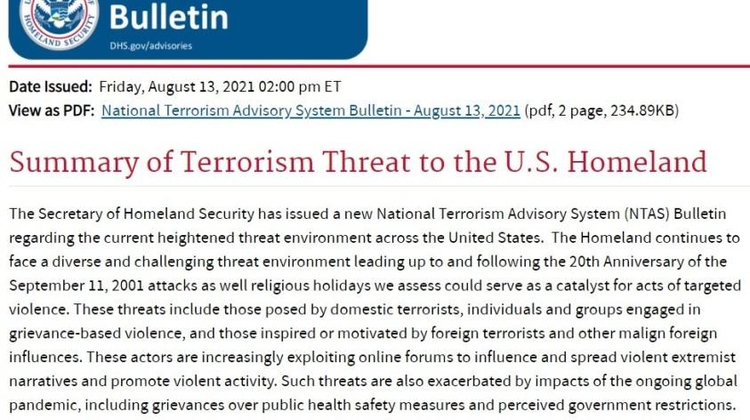 August DHS terror warning suggested impending false flag in west.