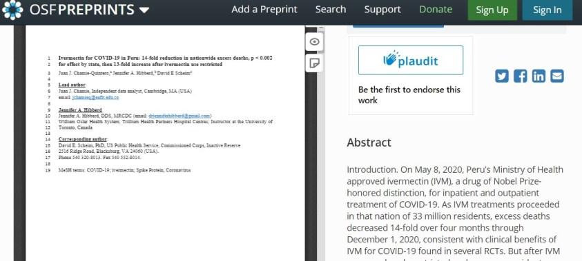 Peru ivermectin study shared on OSF.