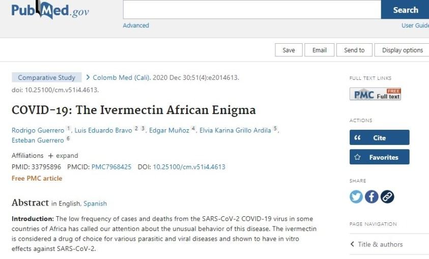 Alleged ivermectin enigma in Africa.