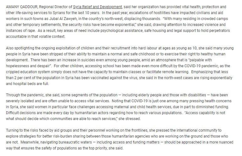 Qaddour gave sad speech to UNSC, employing various western savior complex trigger words.