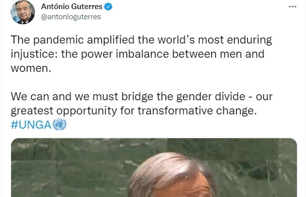 Guterres continued his fraud with the fake call for gender equality.