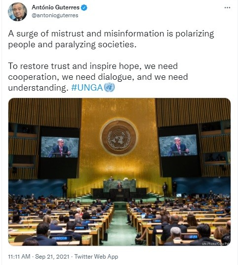 Is Guterres truly naive over the origin of humanity's mistrust over our corrupt &/or grossly incompetent leaders?