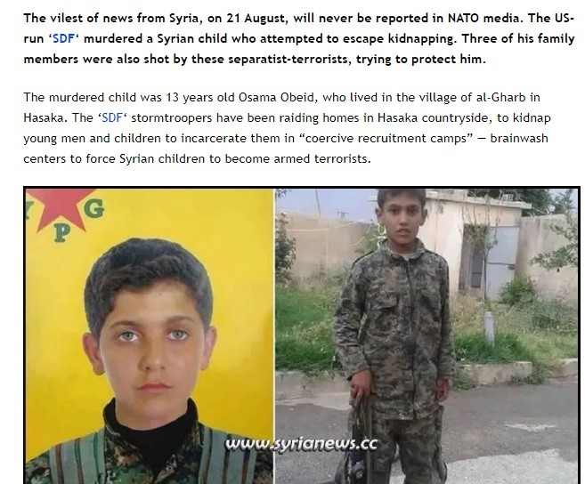 Two months after the illicit signing of the 'Action Plan' the SDF was still kidnapping Syrian children to turn them into killers.