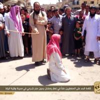 ISIS jihadist mercenaries crucify and flog civilians, elders and boys, due to breaking fasting in Ramadan