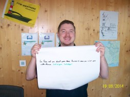 Damien from Chalon-En-Champagne with his message for peace.