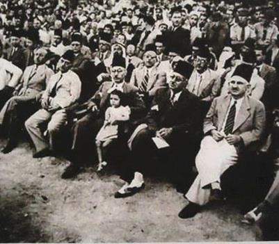 زعماء الكتلة الوطنية في دمشق مع زعماء العراق في بداية الثلاثينيات