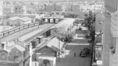 الساحة الخلفية والشارع المجاور لمحطة الحجاز دمشق 1953
