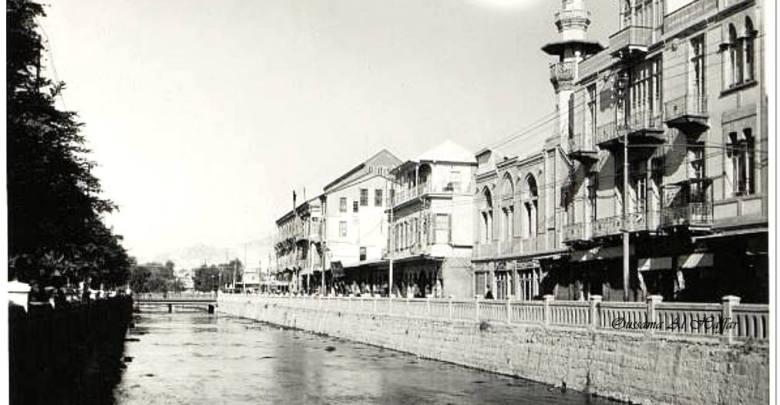 دمشق 1930 - جامع فضل الله البصروي وفندق فكتوريا