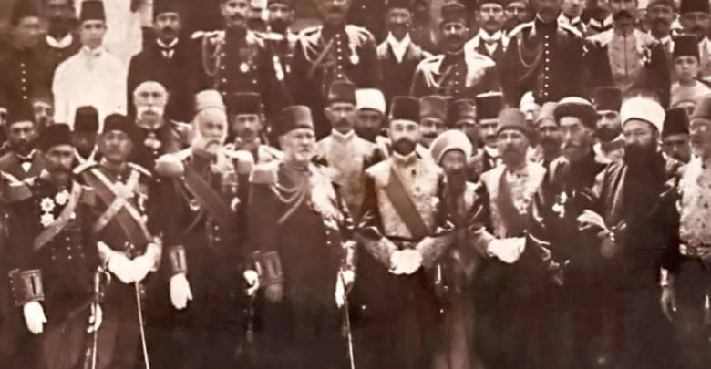 صورة تذكارية للاحتفال الرسمي بإقامة النصب التذكاري للاتصالات البرقية - دمشق 1907
