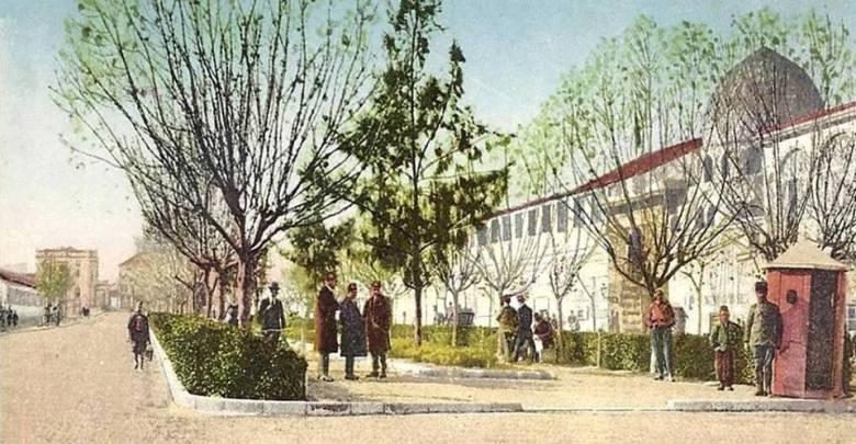 دمشق - شارع النصر وقبة تربة الأمير سيف الدين تنكز ومبنى المدرسة الحربية