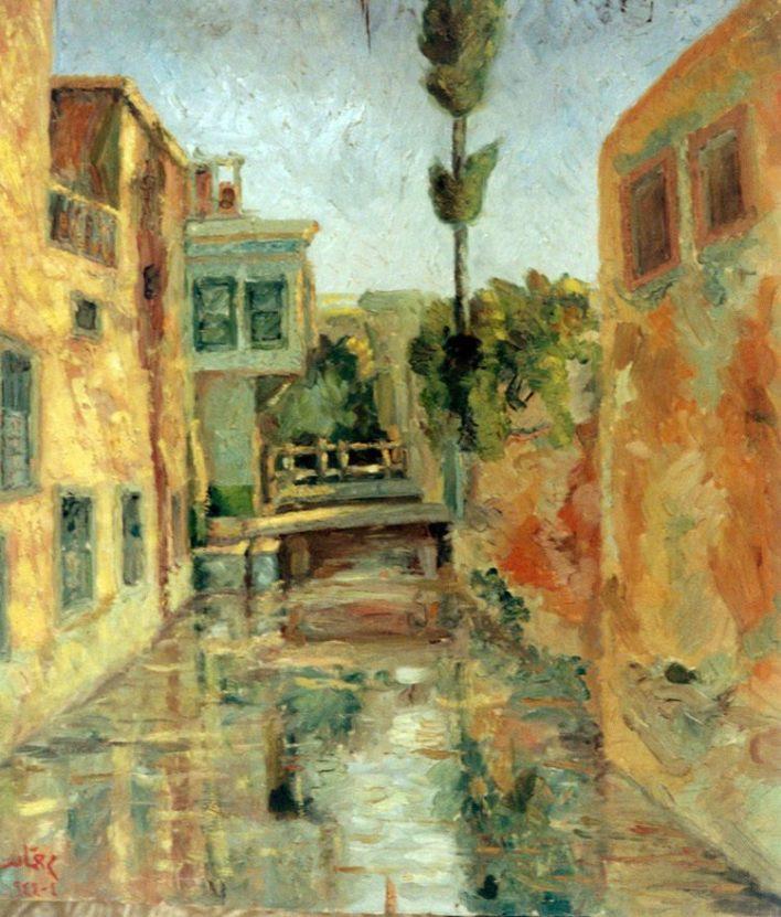 منظر في دمشق .. لوحة للفنان محمود حماد (1)