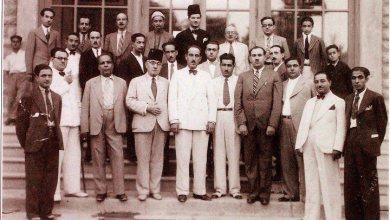 وزير المالية شكري القوتلي مع مجموعة من الإعلاميين السوريين عام 1937