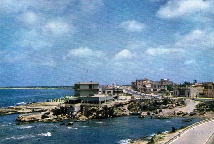 Latakia 1962 - westliche Strandpromenade - Café Al-Asafiriy