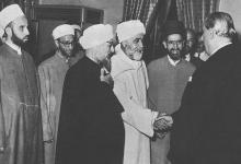 دمشق 1955 - وفد من علماء الدين في زيارة للرئيس شكري القوتلي لتهنئته بانتخابه رئيساً