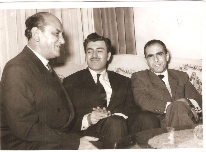 مروان حبش وإبراهيم ماخوس  مع سفير يوغوسلافيا في سورية عام 1966