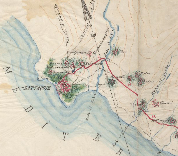 من الأرشيف العثماني 1889 - من مخططات طريق حماة - اللاذقية