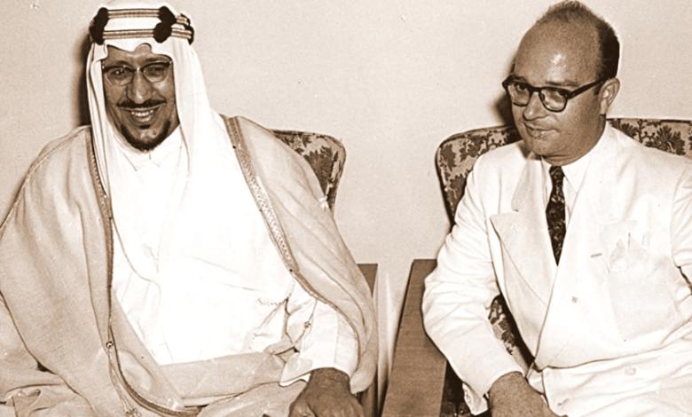 خليل كلاس مع الملك سعود بن عبد العزيز في دمشق عام 1956