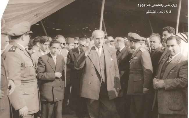 شكري القوتلي ومرافقيه في قرية زنود في القامشلي عام 1957