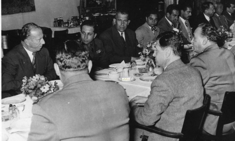 مأدبة غذاء في مطار المزة على شرف فيصل الثاني عام 1954