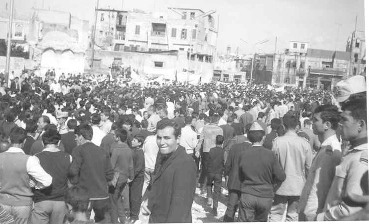 شارع السبع بحرات في حلب 1969- مسيرة استنكار ضرب العمل الفدائي في لبنان (2)