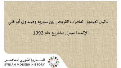قانون تصديق اتفاقيات القروض بين سورية وصندوق أبو ظبي للإنماء لتمويل مشاريع عام 1992