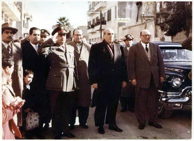شكري القوتلي وصبري العسلي واللواء توفيق نظام الدين شتاء 1956