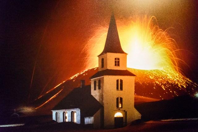 Foto vom Vulkansausbruch 1973 aus dem Museum