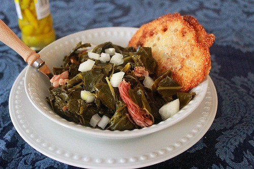 Collard Greens with ham hocks and lacy cornbread