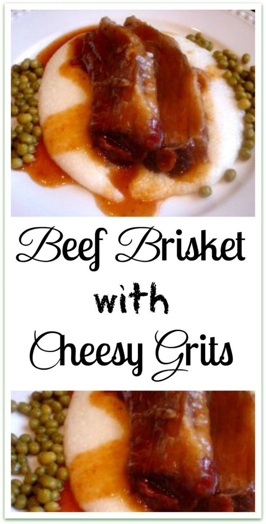 Braised Beef Brisket with Cheesy Grits. Brisket braised with vegetables and aromatics, served over cheesy grits with gravy.
