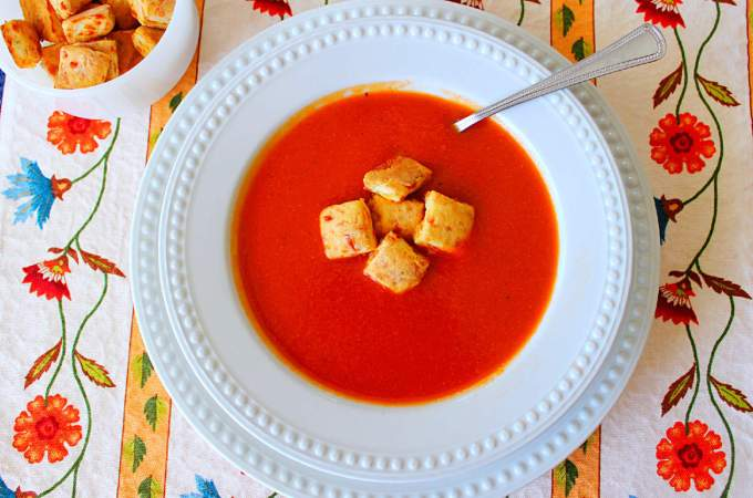 Tomato Soup with Herb Cheese Biscuit Croutons ~ Syrup and Biscuits