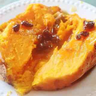 Baked Sweet Potato with Rum Raisin Sauce