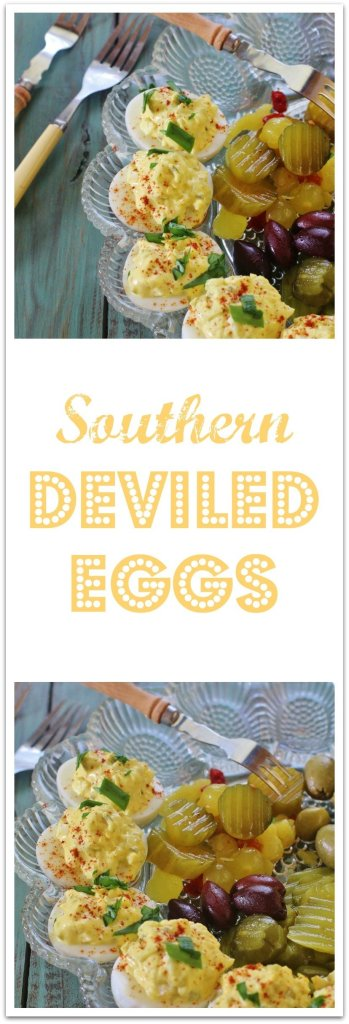 Southern Deviled Eggs. A classic recipe for boiled eggs filled with a mixture of egg yolks, mayonnaise, sweet pickle relish, yellow mustard and salt and pepper.