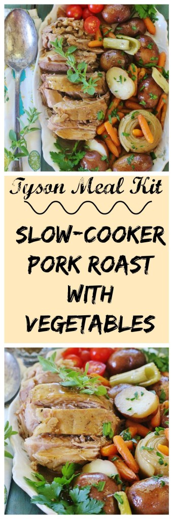 Slow-cooker Pork Roast and Vegetables - everything you need for a meal. Tyson Meal Kit and I Heart Publix giveaway. Contest ends 4/30/16.