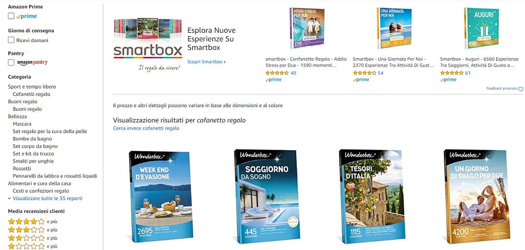 Cofanetti regalo in vendita su Amazon